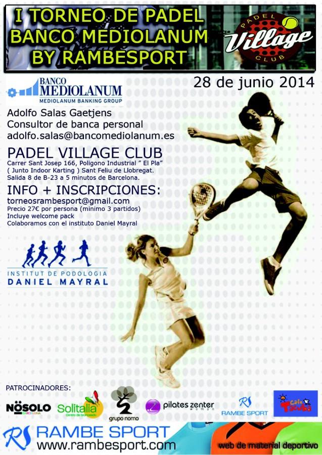 Institut de Podología Daniel Mayral colabora con el I Torneo de Pádel Banco Mediolanum by Rambesport